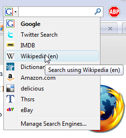 Firefox search options