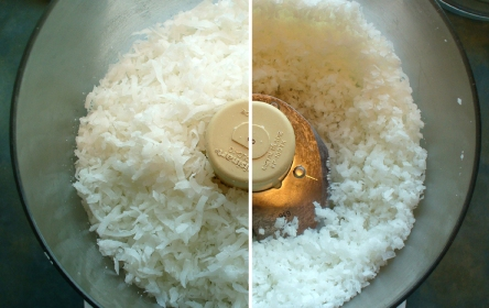 dessicated coconut in the food processor